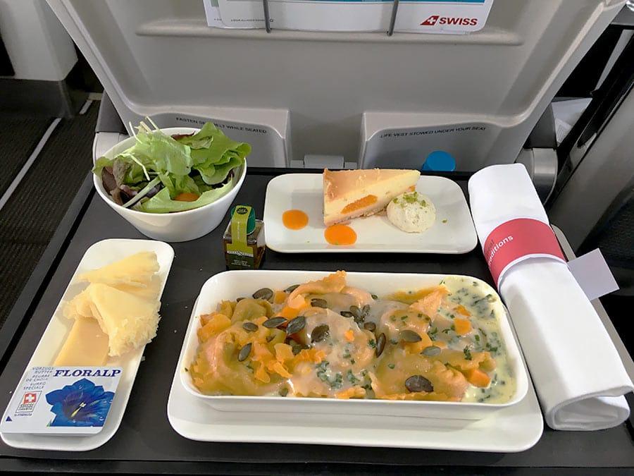 Comida en vuelos largos