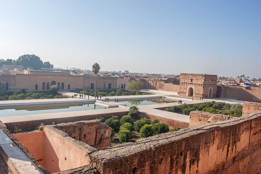 Estanque en el patio interior del palacio El Badii