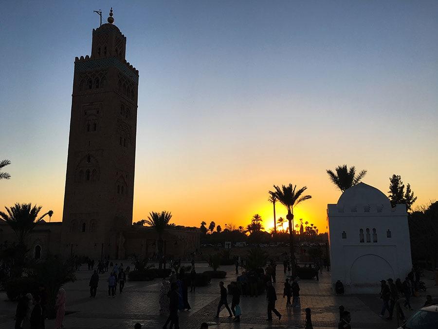 Mezquita Kutubia al anochecer