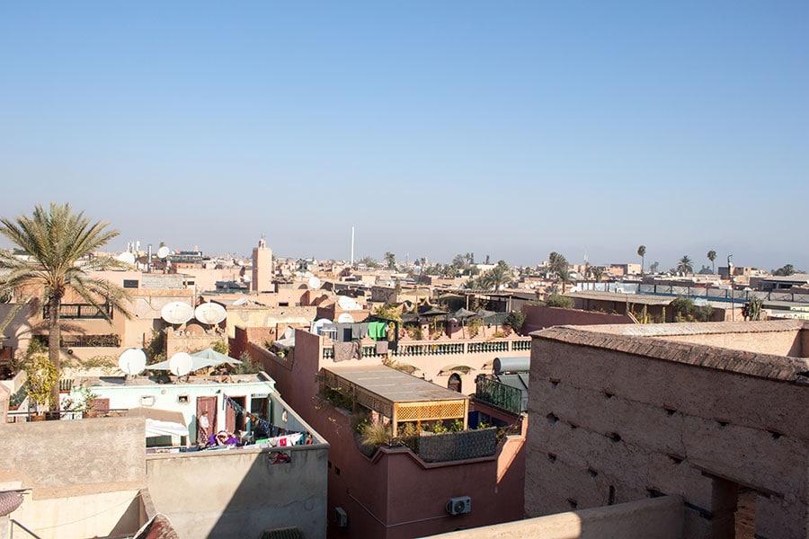 Vistas de los tejados de Marrakech desde el palacio El Badii