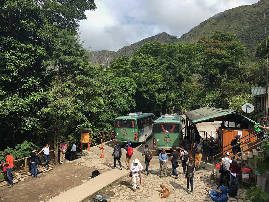 Imagen de los autobuses que van de Aguas Calientes a Machu Picchu