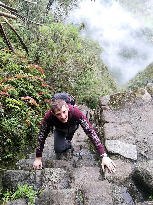 Ralf subiendo a Huayna Picchu