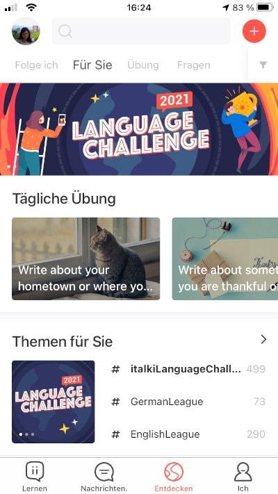 Captura de pantalla de Italki para práctica diaria de idiomas