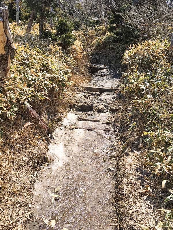 Sendero de la ruta de Gwaneumsa con hielo en el mes de abril